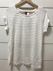 美品 H&M 透けボーダーTシャツ 半袖 ホワイト S
