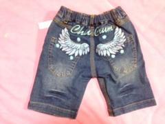 新品■110cm■CHUCHUM■ブルー羽刺繍デニムパンツ