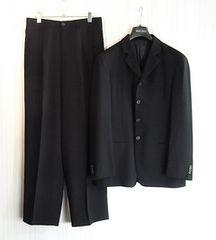 size50☆美品☆アルマーニ黒ラベル 4釦ドレススーツ 黒無地