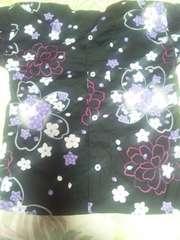 ☆処分品新品=黒×桜大柄ダボシャツ120