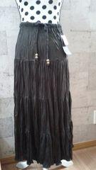 新品タグ付きロングティアードスカートスカート丈83�a焦茶色