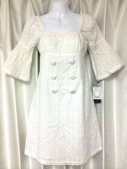 白刺繍デートワンピAラインリボン背中V新品ポンポン美形
