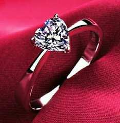 1円〜◆heartカット 縦爪  CZAAAdiamond Ring9号