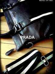 PRADA italy 2way黒型押しレザーブリーフケース新品ノベルティ