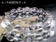 天然石★12ミリ◆高級銀彫四神獣水晶・128面カット水晶AAA数珠