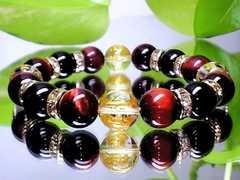 金彫り七種梵字水晶・赤虎目レッドタイガーアイ・黒瑪瑙開運数珠