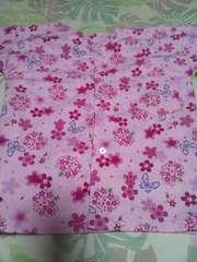☆新品ピンク×桜蝶柄ダボシャツ90
