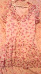 姫系〓ピンク花柄半袖パフスリワンピ