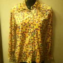used★光沢のあるベロアシャツ/黄色系幾何学模様