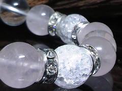 クラック水晶ローズクォーツx水晶10ミリ銀ロンデル数珠