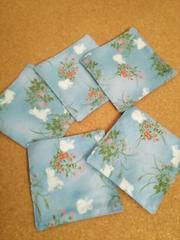 ハンドメイド和柄コースター(うさぎ 水色)5枚セット