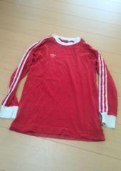 adidasアディダス/80-90sヴィンテージ赤×白3本ラインロングTシャツ/ロンT