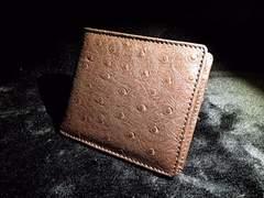 美しすぎる牛本革シープスキン型押し高級二つ折財布