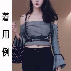 新品【7145】黒レザーハーネス合皮セクシーベルト/ボディハーネス