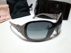 正規美 入手困難 CHANEL シャネル カメリア装飾フレームレスサングラス黒×グレー