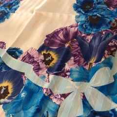 ランバン ハンカチブルーリボンお花柄