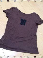 茶色/ビーズTシャツ半袖Tシャツ