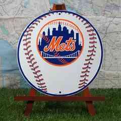 新品【ブリキ看板】Mets/メッツ ボール 丸型