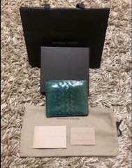 正規ボッテガ 本革 バイカラー グリーン系 センタークロス 財布