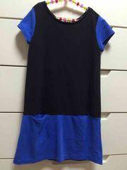 美品 GAPキッズ バイカラー 半袖ワンピース ブルー系 120センチ