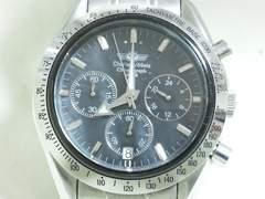 3424/シャルルホーゲル★定価8万円位蝶貝ダイヤルスポーツクロノグラフ腕時計