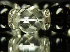 魔除け開運数珠!64面カット水晶×ブラックオニキスブレス