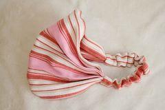 インド綿ボーダープリーツヘアバンド(ピンク)