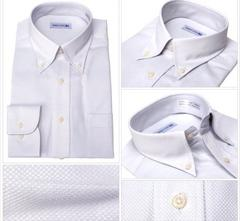 新品未使用タグ付き形態安定ワイシャツ長袖ノーアイロン形状記憶サイズMサックス系