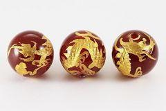 ☆黄金の赤メノウ五爪龍☆12mmビーズ1個
