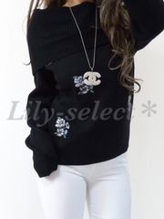 new://雑誌掲載◆black*お花刺繍×オフショルニットtops 0500