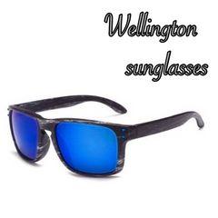 人気ウェリントン型ミラーサングラスUV400 紫外線カットブルー