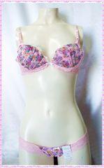フラワーブーケ♪ブラ&ショーツセット B65 (ピンク)