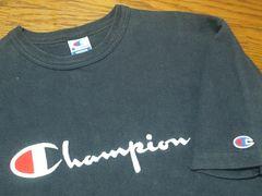 USA製90'sオールド¶Champion[チャンピオン]★ロゴ刺繍Tシャツ M/送\90〜