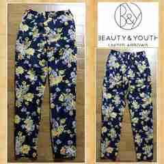 B&Y ユナイテッドアローズ 花柄パンツ S 美品 ネイビー