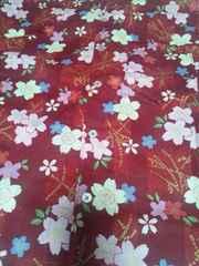 ☆処分品新品=赤×桜和柄ダボシャツ140