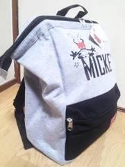 ROUND1限定ミッキーマウスがまぐちリュック☆スウェットver.グレー