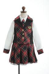 アイドル☆スーツ 120 レッド赤チェック 入学卒業発表会
