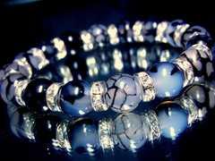 パワーストーン☆天然石!!ドラゴンアゲート黒龍紋瑪瑙§10ミリ§銀ロンデル数珠