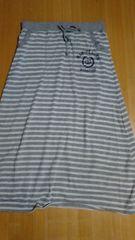 LL 大きいサイズスウェットロングスカート★ボーダー