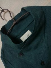 ●08Mab●リネン スタンドカラージャケット*カーデ新品9612円グリーン