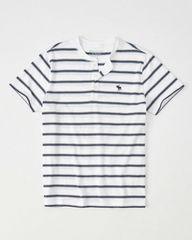 1734 アバクロ メンズ ホワイトストライプTシャツ M