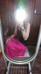エロ可愛ローズピンクサイドレース使いウエストゴムマキシスカート