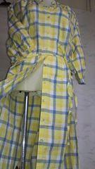 新品3L~4L大きいサイズ麻入り綿チェックロングシャツワンピナチュラルチュニック