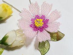 *ペヨーテステッチ「秋桜」ライトpink×紫*ボールチェーン