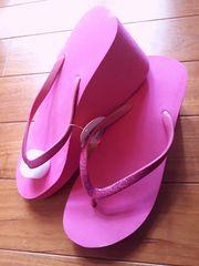 新品 ピンク 厚底 ビーチ サンダル ラメ Lサイズ
