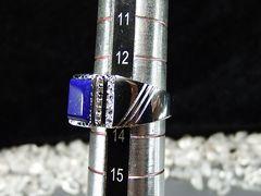 天然石極上質ラピスラズリ925銀指輪 12月誕生石約13号