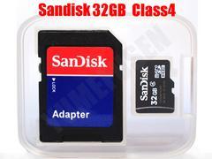 送料無料 SANDISK 32GB microSDHC CLASS4 SDアダプタ付 バルク品
