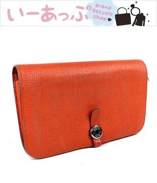 エルメス 長財布 二つ折り財布 ドゴンGM オレンジ シルバー金具 j183