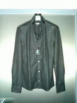 トルネードマート〓新品〓ジャガード織り長袖シャツ〓黒/M