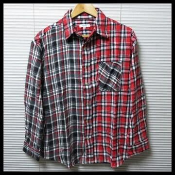 SALE ビッグシルエットクレイジーチェックネルシャツ/RED/L